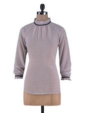 Taupe Poly Georgette Swiss Dotted Victorian Top - By