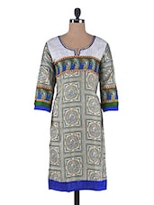 Printed Blue And Beige Cotton Satin Kurta - By