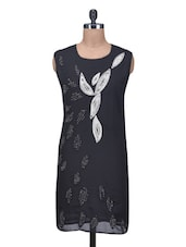 Beaded And Embroidered Black Poly Georgette Shift Dress - By