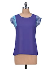 Violet Poly Georgette Top With Printed Cap Sleeves - By