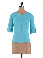 Turquoise Poly Crepe Top - By