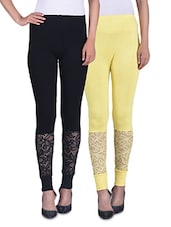 Black And Yellow Viscose Laced Leggings (Set Of 2) - By