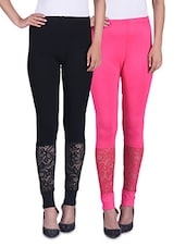 Black And Pink Viscose Laced Leggings (Set Of 2) - By