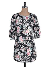 Black Poly Crepe Floral Print Dress - By