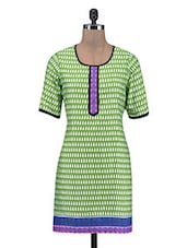 Green Printed Poly Cotton Kurta - By
