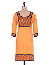 Orange Rayon Kurta  With Lace Work - By