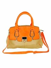 orange synthetic leather handbag -  online shopping for handbags