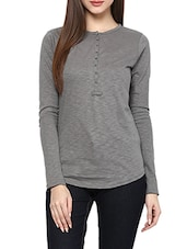grey cotton henley top -  online shopping for Tops