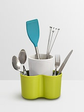 Green And White Plastic Cutlery Stand - By