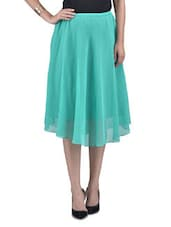 Solid Sea Green Polygeorgette Midi Skirt - By