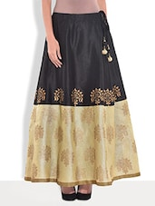 Black Dupion Silk Block Printed Skirt - By