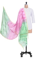 Pink Chanderi Silk Zari Printed Dupatta - By