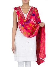 Floral Embroidered Dark Pink Chiffon Dupatta - By
