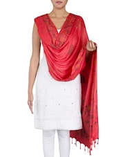 Printed Coral Red Cotton Dupatta - By