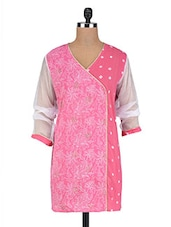 Pink Cotton Abstract Print Kurti - By