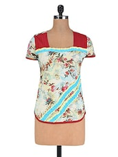 Multi Cotton Floral Print Top - By