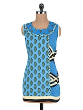 Blue Cotton Boota Printed Patch Worked Sleeveless Kurti - By