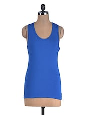 Royal Blue Cotton Lycra Racer Back Top - By
