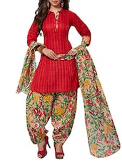 Red Cotton salwar suits dress material -  online shopping for Dress Material