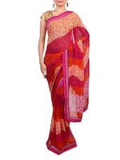 Pink And Orange Georgette Printed Sari - By