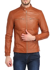 brown faux leather biker jacket -  online shopping for Biker Jacket