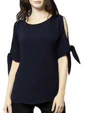 navy blue crepe top -  online shopping for Tops