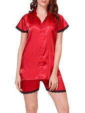 red satin shorts nightwear set -  online shopping for nightwear sets
