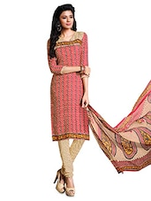 Red And Beige Printed Unstitched Suit Set - By