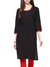 Black Cotton Plain Straight Kurta - By