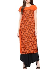 orange rayon long kurta -  online shopping for kurtas