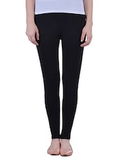black Cotton Lycra Ankle Lenth Legging -  online shopping for Leggings