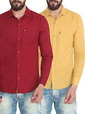 set of 2 multi colored cotton casual shirts -  online shopping for casual shirts