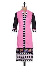 Pink Cotton Polka Dots Print Kurti - By