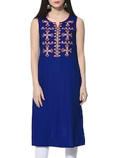 blue color rayon straight kurta -  online shopping for kurtas
