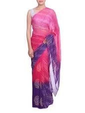 Pink And Purple Georgette Paisley Print Sari - By