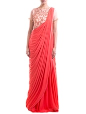 Tomato red and bisque embroidered saree gown -  online shopping for Sarees