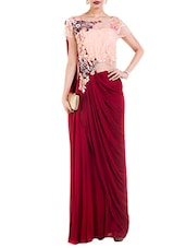 Red georgette draped jumpsuit saree -  online shopping for Sarees