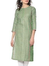 Green Hand Block Print Cotton Kurta - By