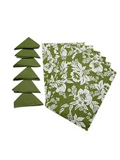 Dekor World Floral Green Cotton Printed Place Mat W/Napkin (Pack Of 12) - By