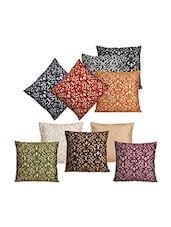 Dekor World Multi Golden Printed Combo. Cushion Cover (Pack Of 10) - By