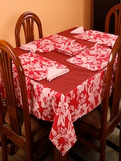 Dekor World Floral Printed Orange Table Cover With Place Mat & Napkin (Pack Of 25) - By