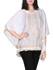 white printed crepe kaftan -  online shopping for Kaftans