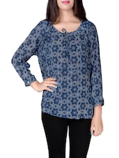 blue printed crepe top -  online shopping for Tops
