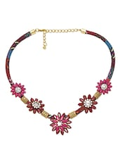 Multicolored Floral Embellished Tribal Style Necklace - By