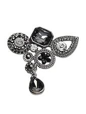 Black Metallic Embellished Brooch - By