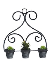 Stylish Black & Grey 10.7 CM Planter Pots With Stand - By