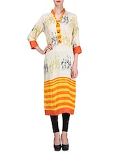Light Yellow Rayon Printed Kurta - By