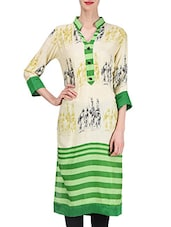 Cream And Green Rayon Printed Kurta - By