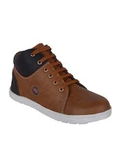 brown Leatherette lace up sneaker -  online shopping for Sneakers