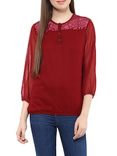 red georgette regular top -  online shopping for Tops